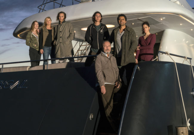 Alycia Pebnam-Carey as Alicia Clark, Frank Dillane as Nick Clark, Colman Domingo as Victor Strand, Lorenzo James Henrie as Chris Manawa, Rubén Blades as Daniel Salazar, Cliff Curtis as Travis Manawa, Mercedes Mason as Ofelia Salazar, Kim Dickens as Madison Clark; group - Fear The Walking Dead _ Season 2, Episode 02 - Photo Credit: Richard Foreman, Jr/AMC